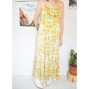 Vintage Yellow Floral Semi Sheer Nightgown